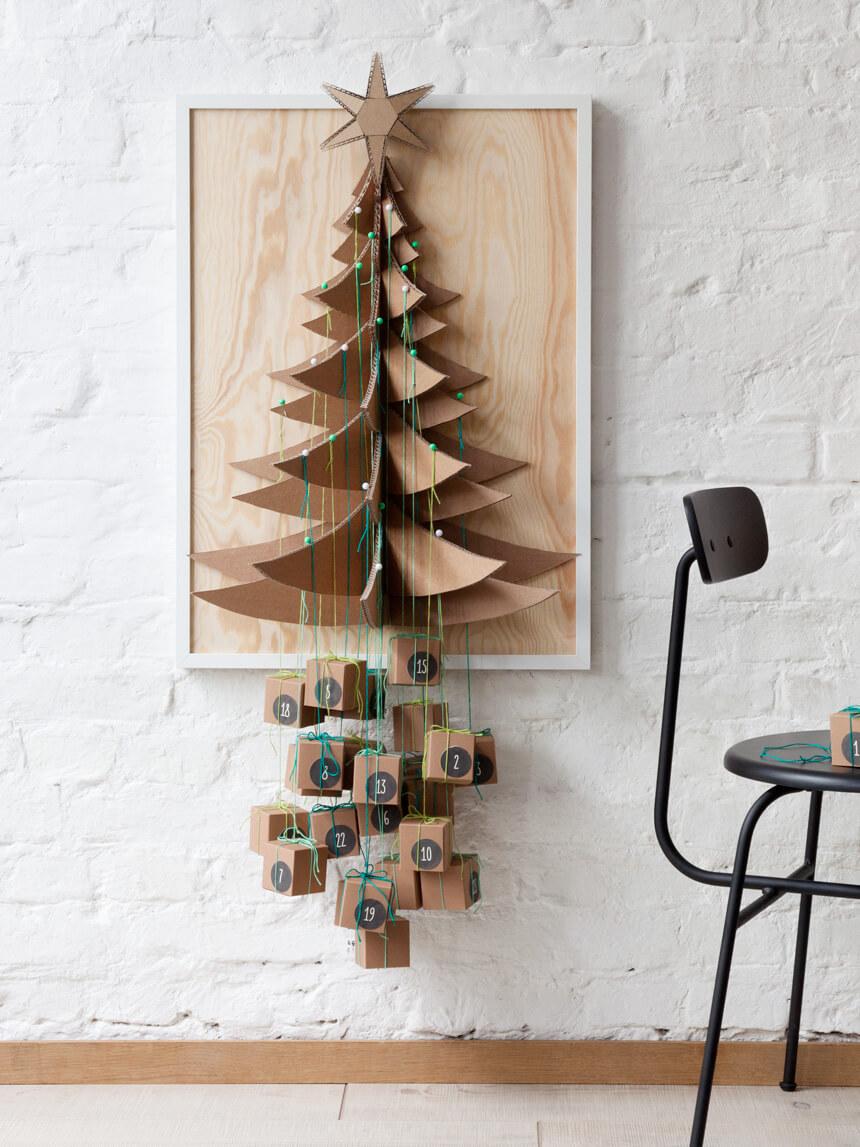 Adventskalender selber basteln: Päckchenbaum Weihnachtskalender