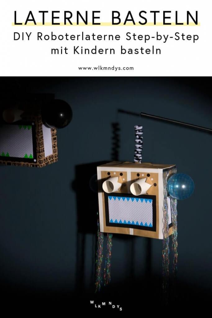 Laterne mit Kindern basteln - DIY Roboterlaterne mit Step-by-Step Anleitung