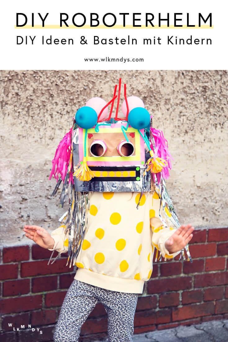 Schnell und einfach lässt sich aus Papiertragetaschen, Espressobechern und diversem Bastelzubehör im Schrank ein cooler Roboterhelm basteln! Mit dieser DIY Anleitung findest du die richtigen Materialien und step-by-step Tipps zum Basteln mit Kindern - perfekt für den nächsten Geburtstag oder Kinderparty! Viel Spaß dabei! #wlkmndys #diyideen #diy #basteln #bastelnmitkindern