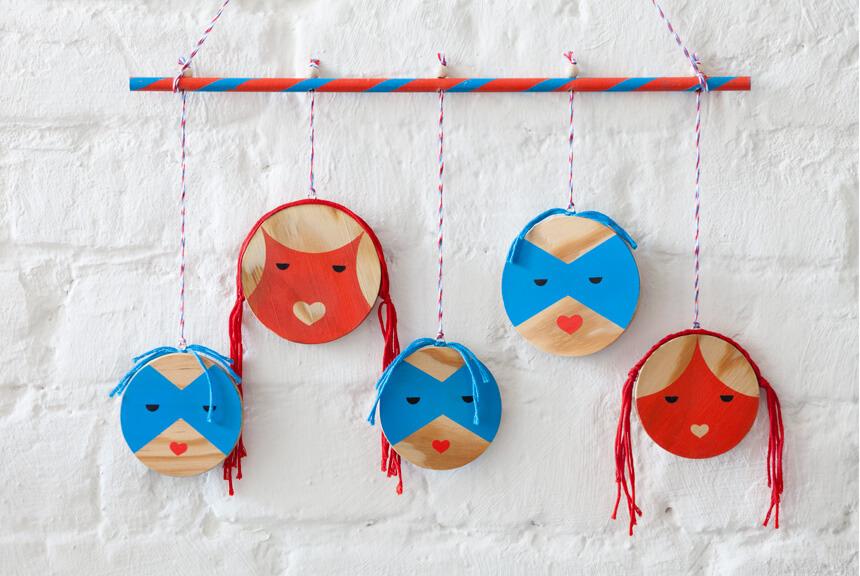 Tag und Nacht Gesichter - Kinderzimmer Deko selber machen
