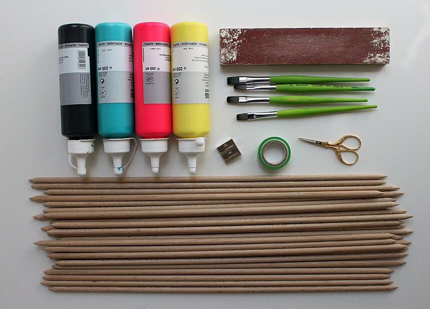 DIY Riesenmikado Spiel basteln: Materialien