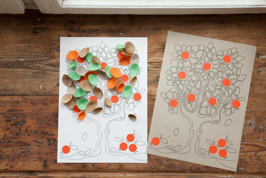 Apfelbaeumchen basteln mit Vorlage: Basteln im Herbst
