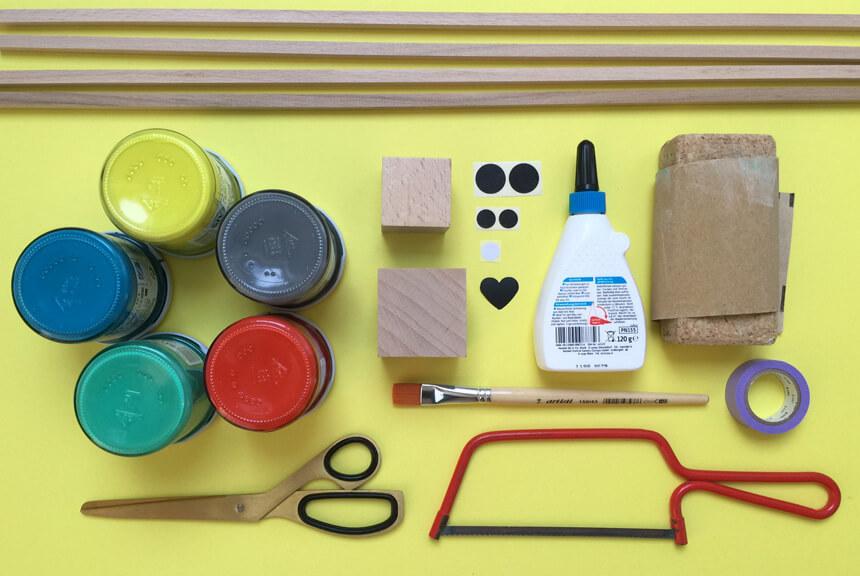 Stapeleule DIY Spiel basteln: Materialien