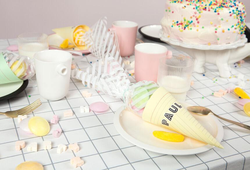 Tischdeko für Kinderparty zur Einschulung