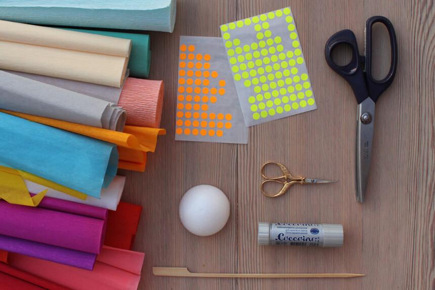 Papierblumen basteln - Materialien
