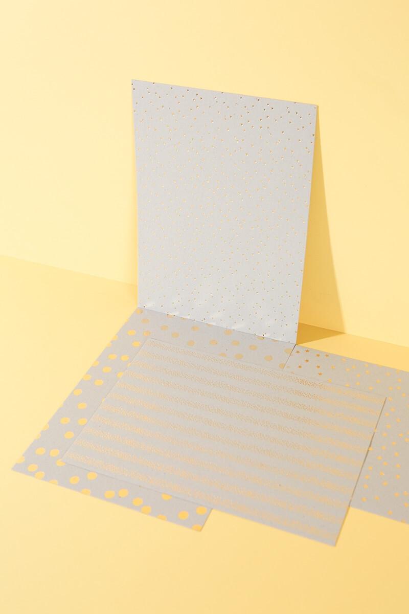 Bastelpapierblock Graukarton Hot Foil DIN A4