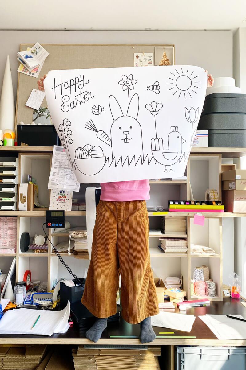 Fensterbild Vorlage für Ostern - HAPPY EASTER