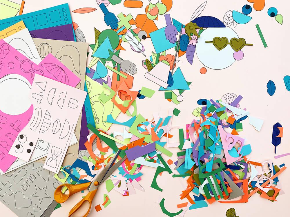 Collage Basteln mit Kindern