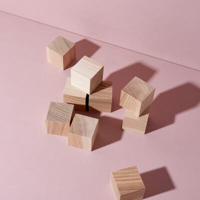 Blanko Holzwürfel Esche 9er Set