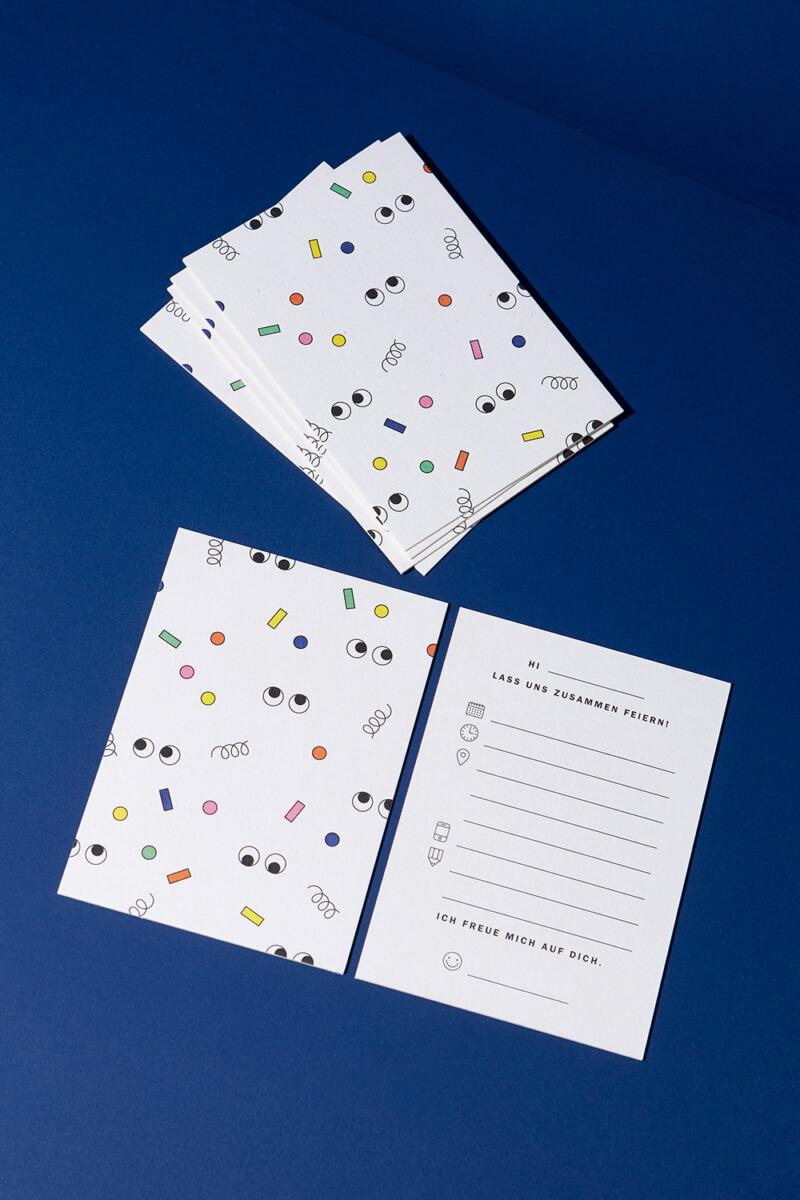 Einladungskarten Set Konfetti