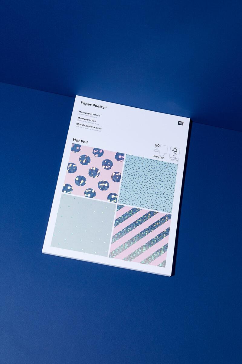 Bastelpapierblock Hologramm Mint & Rosa