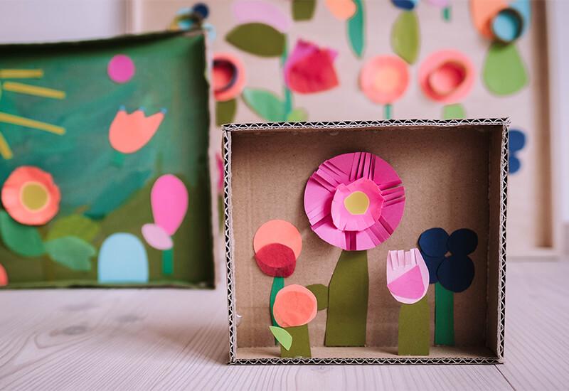 Bunter Papierspaß: Eine 3D Blumencollage mit Kindern basteln