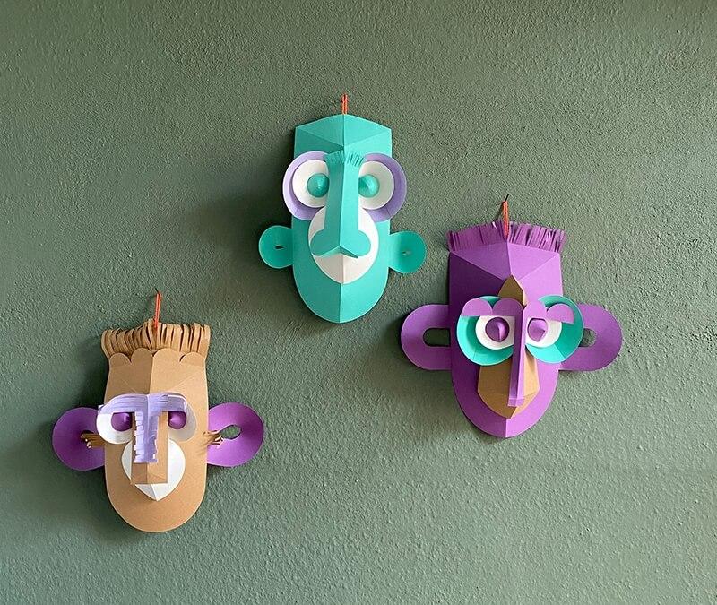 So ein Affenquatsch aus Papier: Tierisch schöne Masken für die Wand basteln